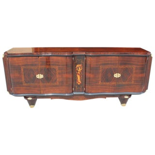 French Art Deco Sideboard Palisander Rio with M-O-P Detail, style Jules Leleu Circa 1940s