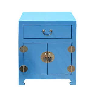 Chinese Pastel Blue Vinyl Moon Face End Table Nightstand