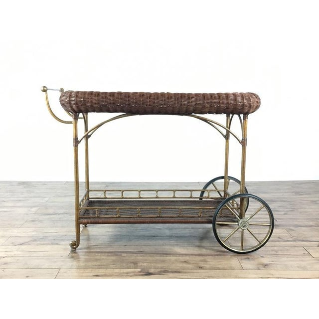 Vintage Wicker Wrapped Bar Cart - Image 2 of 7