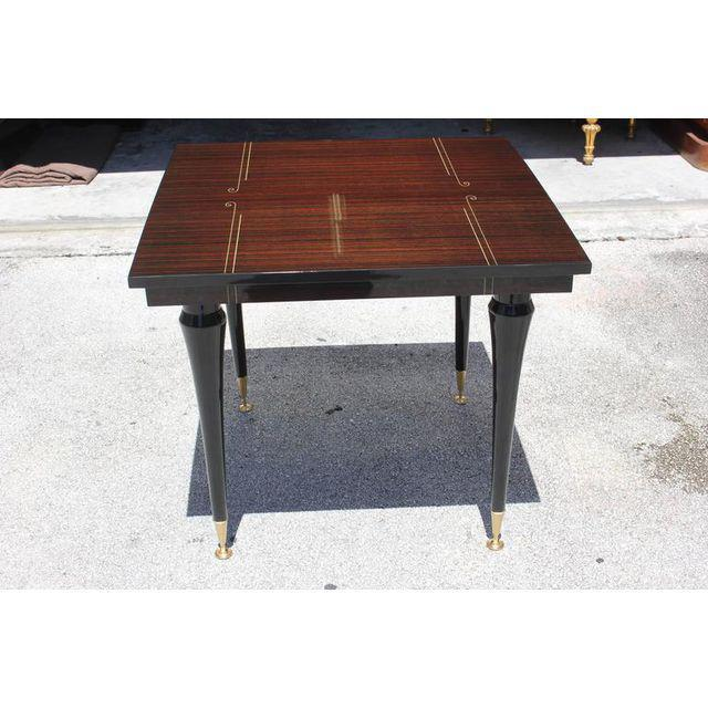 French Art Deco Exotic Macassar Ebony Center Table / Game Table Circa 1940s    Image 5