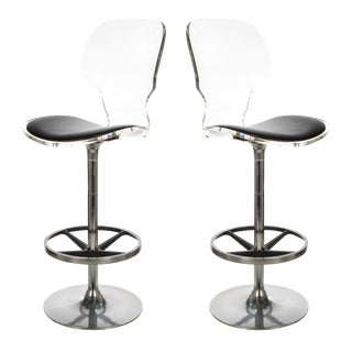 Pair of Acrylic Swivel Bar Stools