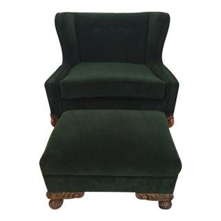 Deco Style Emerald Green Velvet & Ottoman