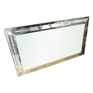 Large Decorative Etched Beveled Wall Mirror