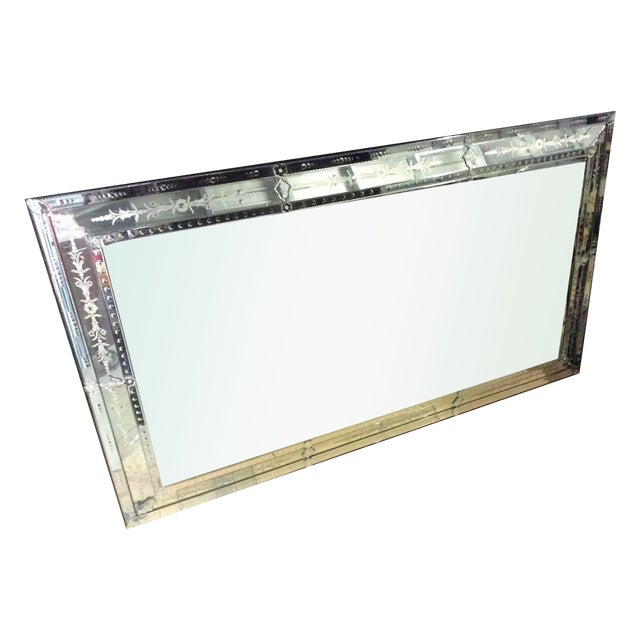 Large decorative etched beveled wall mirror chairish for Large fancy wall mirrors
