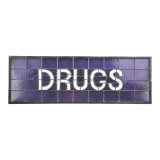 "Original Stained Glass Sign ""Drugs"" by James Moore"