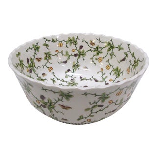 Vintage Porcelain Floral Butterfly Bowl