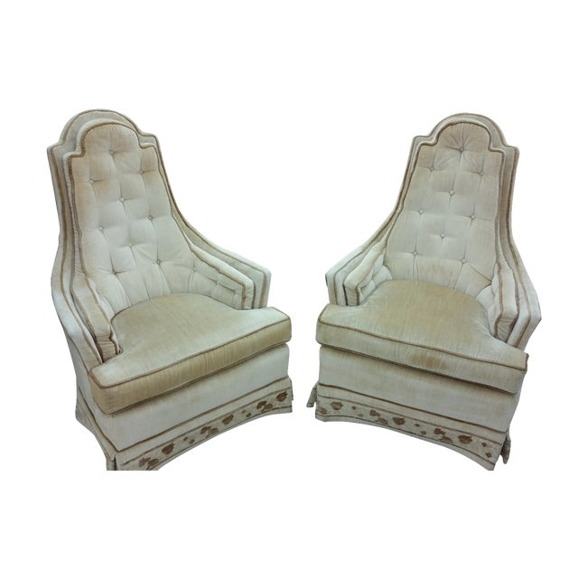 Hollywood Regency Tall Tufted Hickory Chairs -Pair - Image 1 of 7