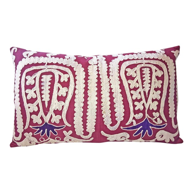 87 Year Old Vintage Hand Embroidered Samarkand Pillow - Image 1 of 5
