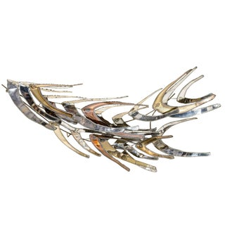 "Mixed Metal Wall Sculpture Titled ""Dive"" by Bijan J. Bijan"