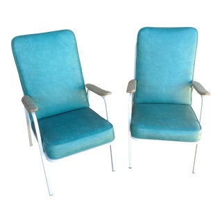 Turqouise Vinyl Mid-Century Lounge Chairs - a Pair