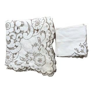 Cutwork Tablecloth & Napkins - Set of 13