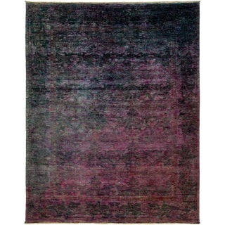 "Vibrance, Hand Knotted Contemporary Purple Wool Area Rug - 9' 0"" X 11' 2"""