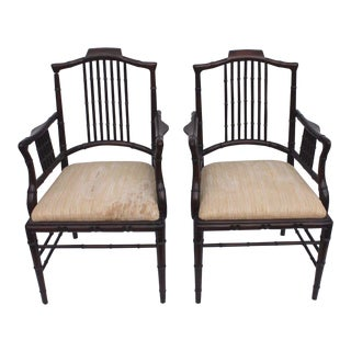Mid-Century Carved Mahogany Faux Bamboo Arm Chairs - A Pair