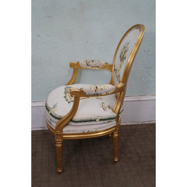 Image of Vintage French Louis XVI Style Gilted Armchair