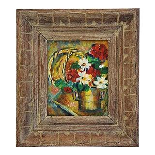 Vintage 1950s Dorothy Neal Framed Floral Oil Painting