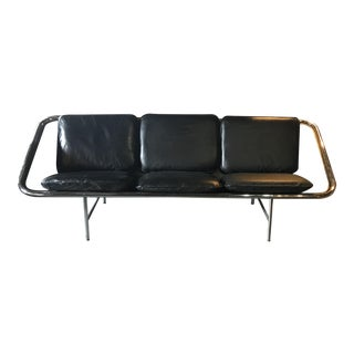 George Nelson for Herman Miller Black Leather Sling Sofa