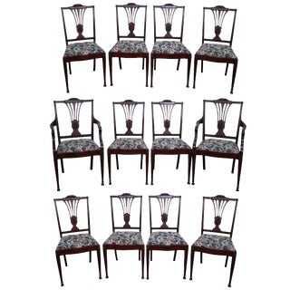 Antique Mahogany Adams Style Dining Chairs - Set of 12