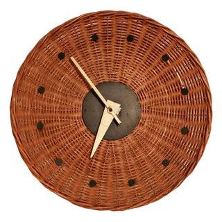"George Nelson for Howard Miller Woven Rattan ""Basket Clock"""