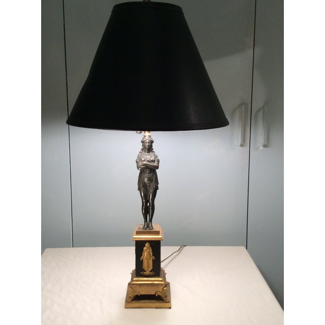 Neoclassical Bronze & Gilt Bronze Candlestick Lamp - Image 3 of 6