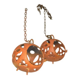 Mid-Century Patio Globes Cast Iron Orange- a Pair