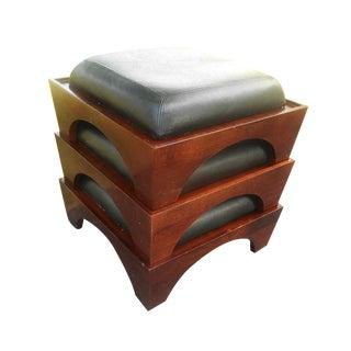Mid-Century Leather & Walnut Footstools - S/3