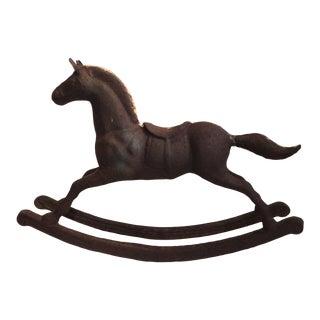 Monumental 19th Century Cast Iron Carousel Child's Rocking Horse