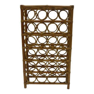 Mid-Century Rattan 24 Bottle Wine Rack