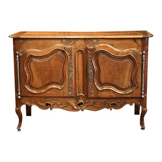 Mid-18th Century French Louis XV Hand-Carved Walnut Buffet from Provence
