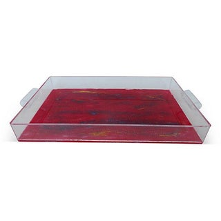 Lucite Tray With Abstract Painted Bottom