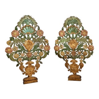 19th Century Italian Pressed Metal Table Appliques - A Pair