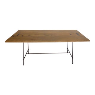 Modern Organic Table with Inlay and Low Profile Iron Base