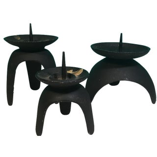 Mid-Century Cast Iron Candle Holders - 3