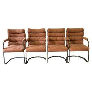Milo Baughman Brass Dining Chairs - Set of 4