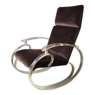 Vintage Velvet & Lucite Rocking Chair