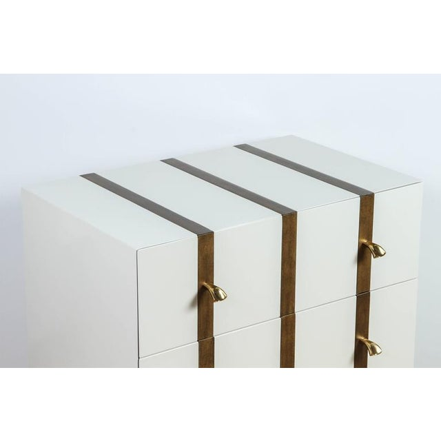 Paul Marra Two-Drawer Banded Chest in Lacquered Finish and Inset Iron Band - Image 5 of 8
