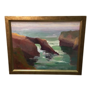 "Framed Oil on Board Seascape ""Mendocino Coast"""