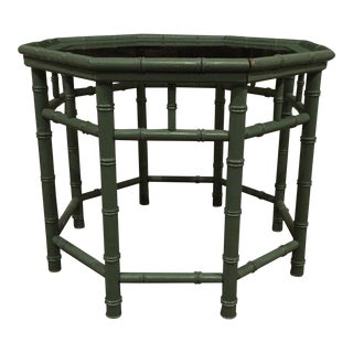 Vintage Green Faux Bamboo Table