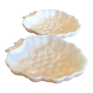 Milk Glass Grape Shaped Bowls - A Pair