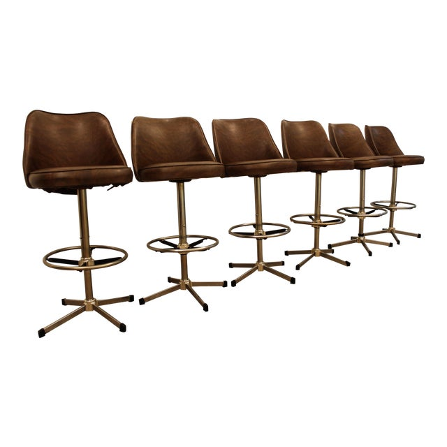 Image of Danish Modern Admiral Chrome Swivel Stools - Set of 6