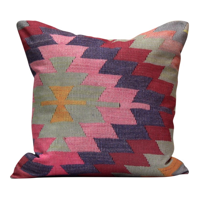 Diamond Pattern Kilim Inspired Print Pillow - 18'' - Image 1 of 8