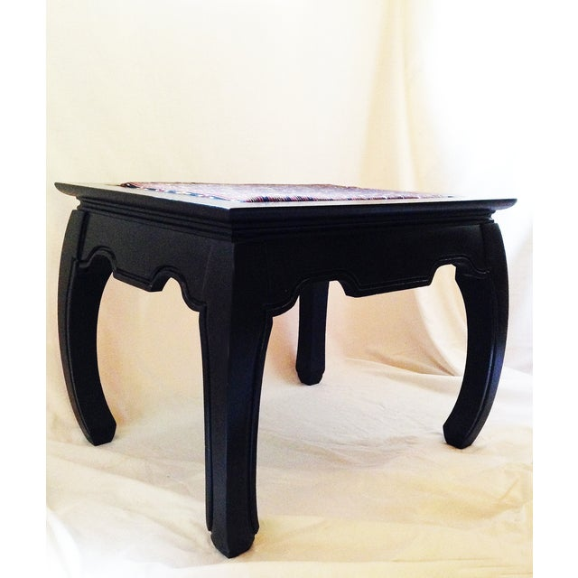 Ming-Style Side Table With Upholstered Top - Image 4 of 5