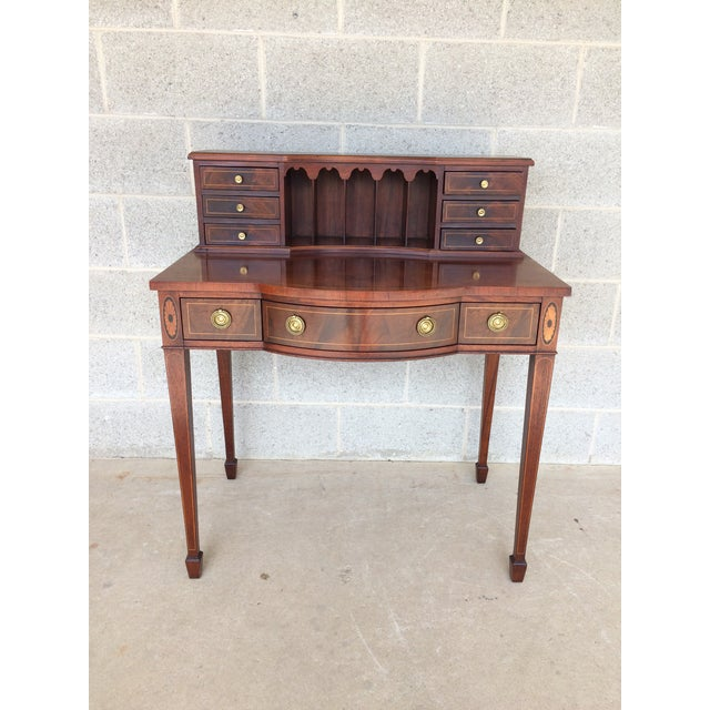 Baker Furniture Inlaid Mahogany 9 Drawer Writing Desk - Image 2 of 9
