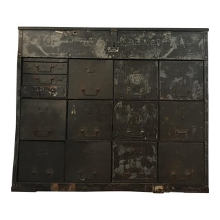 Vintage Industrial Army Locking Tool Cabinet