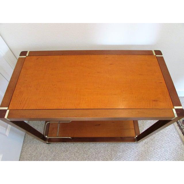 Mid Century Wood & Brass Bar Cart - Image 4 of 10