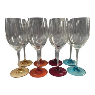 Royal Doulton Colorful Marked Wine Glasses - Set of 7