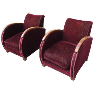 French Art Deco SpeedClub Chairs - A Pair