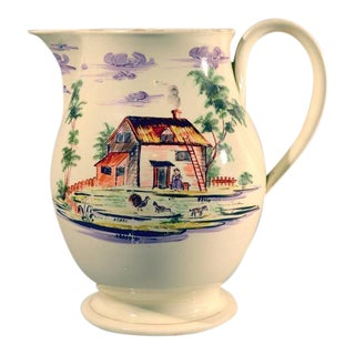 English Creamware Large Jug Decorated with Farm Buildings and Farm Animals