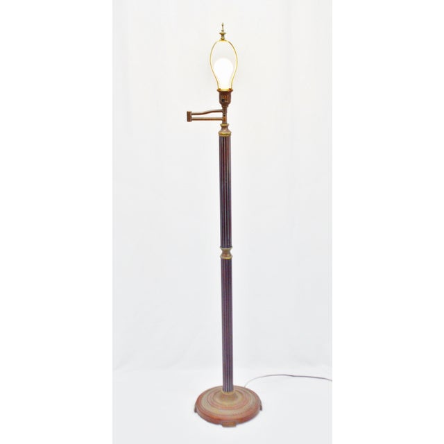 Vintage mid century wood swing arm floor lamp chairish for Swing arm floor lamp wood