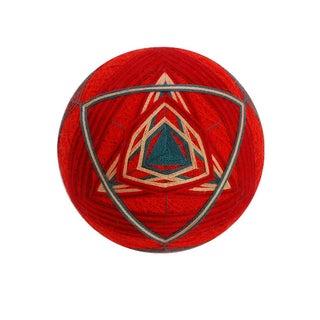 Temari Ball Ornament - Red Layered Triangle Knot