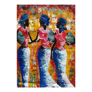 African Women & Cooking Pots Acrylic Painting